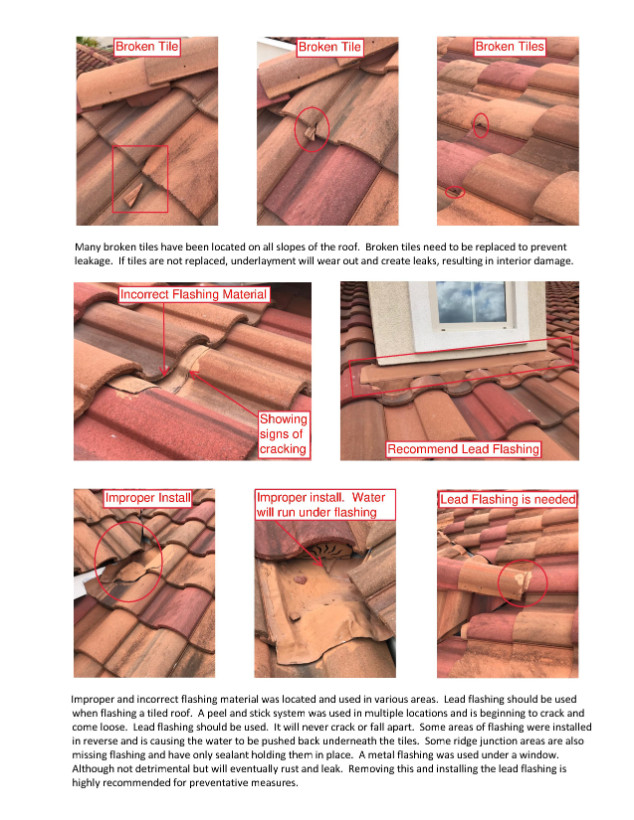 Improper flashing and broken tile problems pointed out in roofing inspection